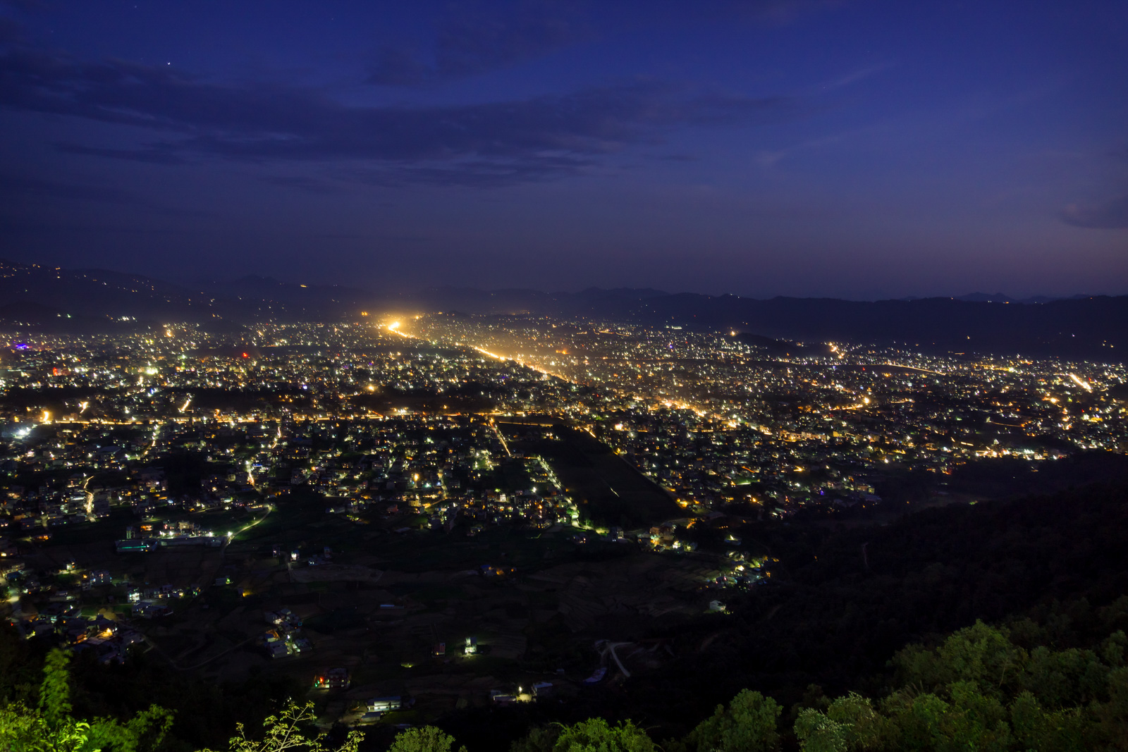 Night view of Pokhara city