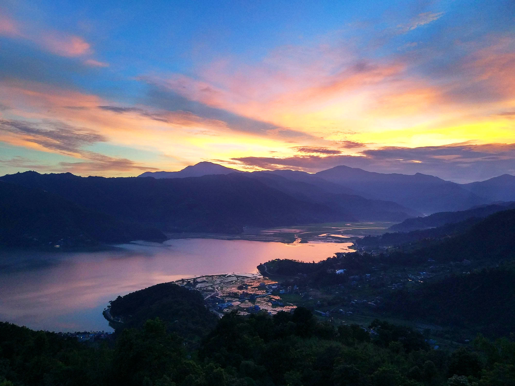 Phewa lake view at sunset